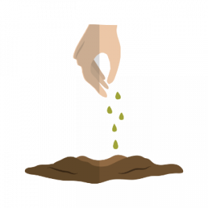 vector image of hand poring soil