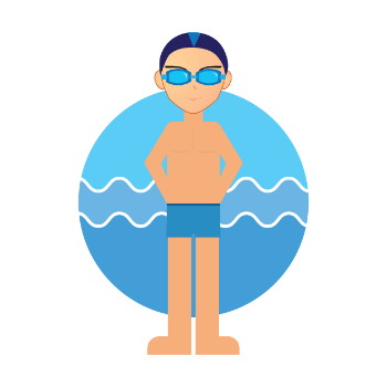 a boy on lazy river pool