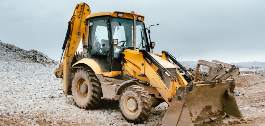 backhoe excavator on a construction site