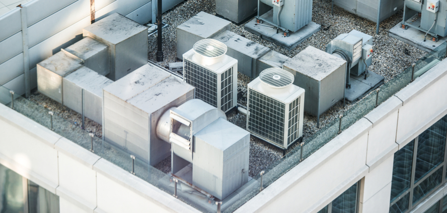 air conditioning system on the building roof top